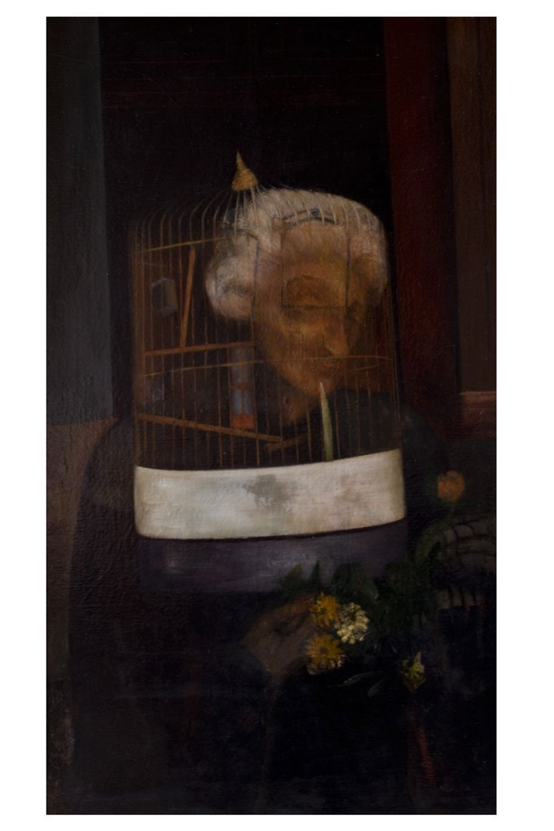 Old woman with birdcage